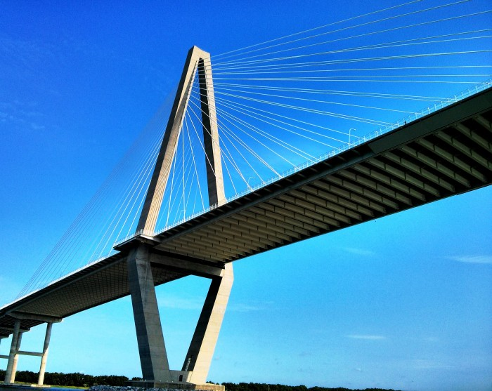 One of the towers of the Ravenel or Cooper River Bridge as seen from the water
