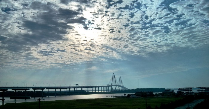 The Cooper River Bridge is spectacular in the early morning light in Charleston, SC.