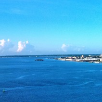 A glorious view of Charleston Harbor and the Charleston peninsula from the Ravenel/Cooper River Bridge