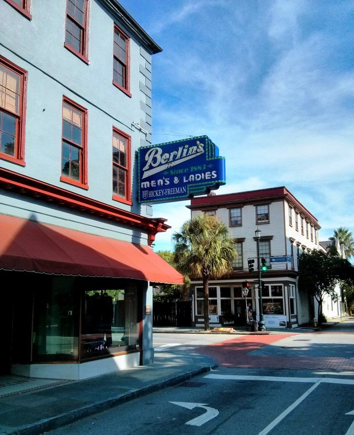 Berlins clothing store in Charleston has been on King Street since 1883, and has a very cool neon sign.