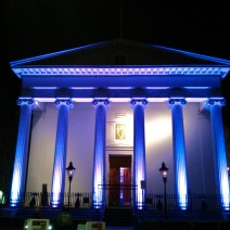 Hibernian Hall in Charleston, SC lit beautifully for a special event