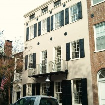 This beautiful streetscape is on Chalmers Street, a beautiful cobblestone street in the heart of downtown Charleston.