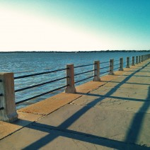 Early morning shadows being cast along the High Battery in Charleston, SC
