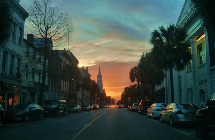 A spectacular sunset framed by Broad Street in Charleston, SC