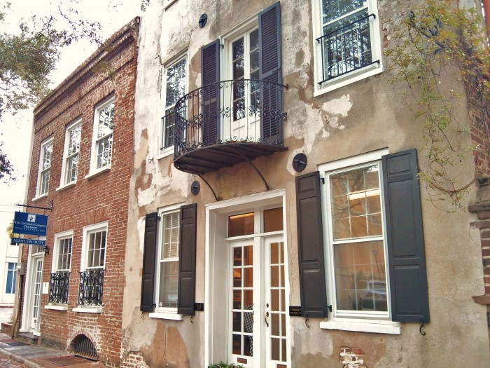 There are wonderful cast and wrought iron balconies all over Charleston, SC.