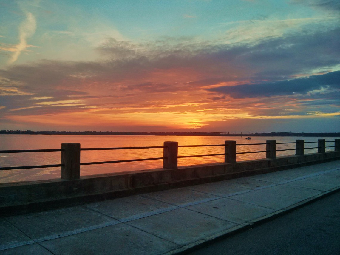 Another beautiful Charleston sunset along the Ashley River, as seen from the Low Battery
