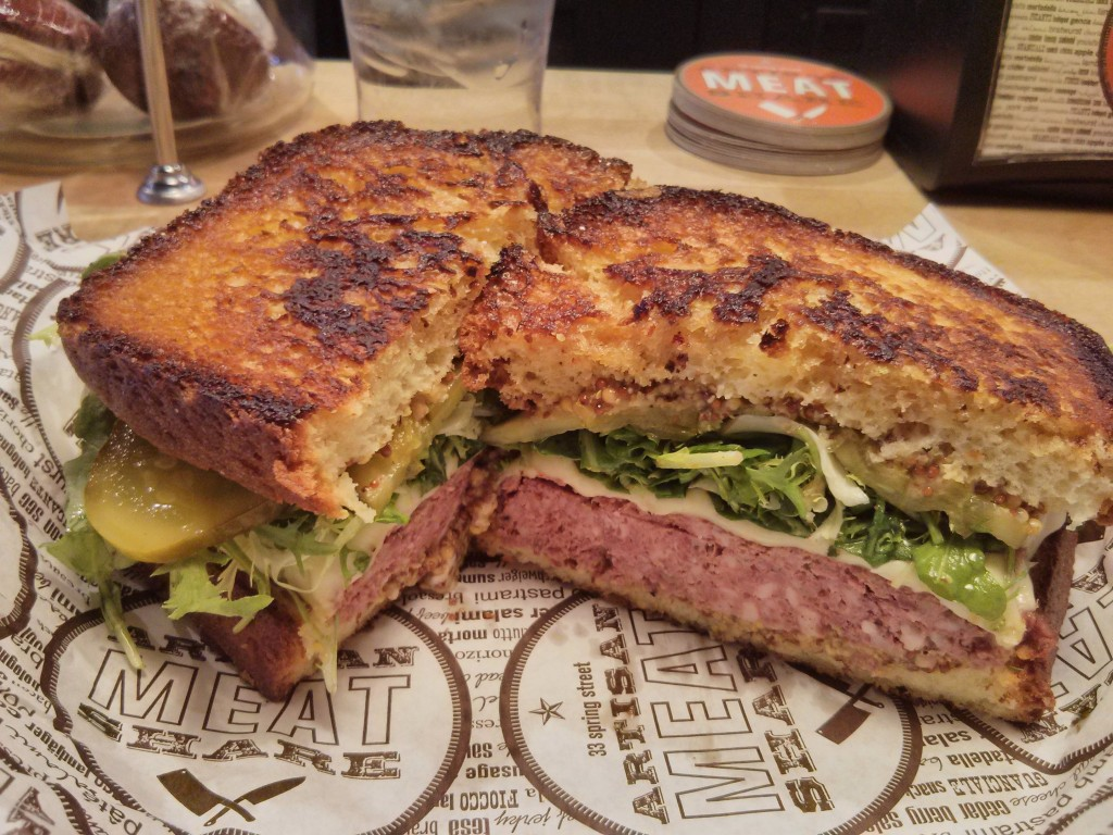 Artisna Meat Share makes incredible sandwiches. The Pate Melt is a sophiisticated nod to the Patty Melt.