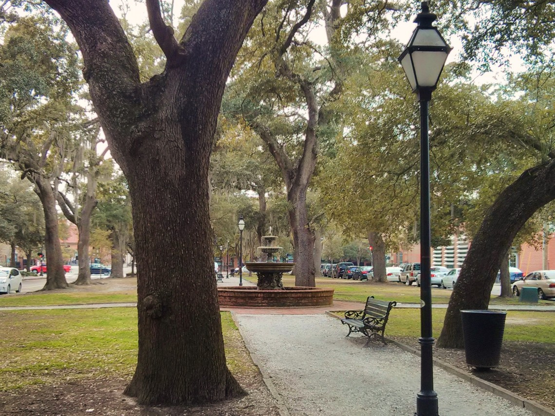 Wragg Square is a peaceful oasis in the middle of downtown Charleston, SC