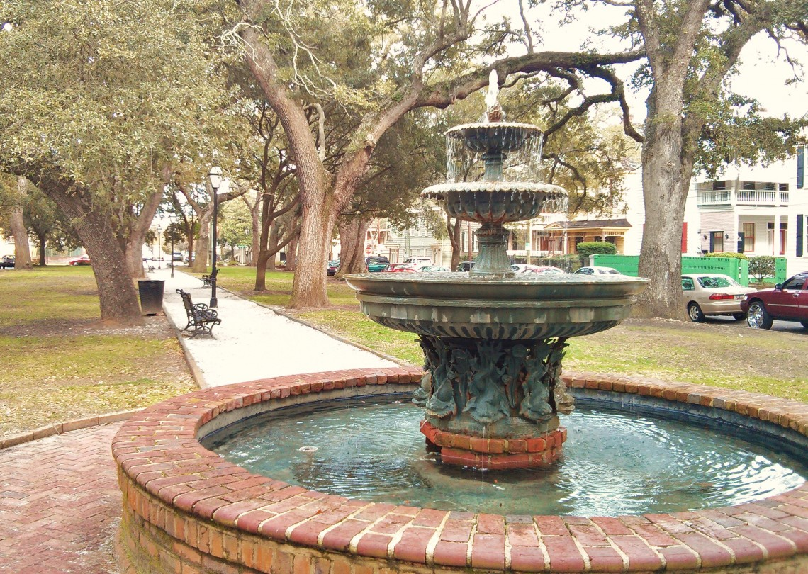 One of the beautiful fountains scattered around Charleston, SC can be found in Wragg Square.