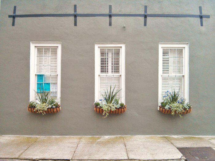 Beautiful blooming flower boxes can be found year round in Charleston, SC.