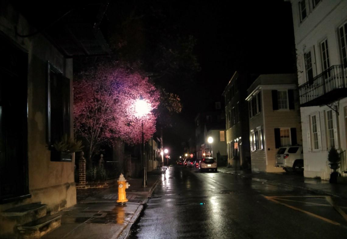 A light rain added even more magic to the Charleston, SC night.