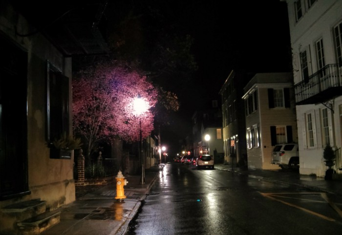 A light rain added even more magic to the Charleston, SC night.