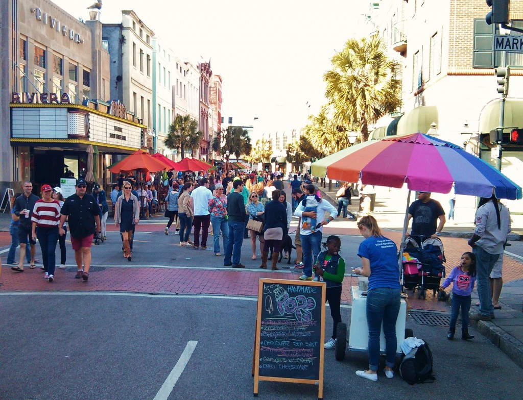 """One of the wonderful monthly traditions in Charleston is """"Second Sunday.""""  King Street, between Calhoun and Queen Streets (home to some of the best shopping in the United States)  is shut to motorized traffic and the street turns into a wonderful pedestrian mall"""