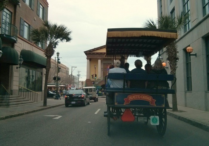 A traffic jam in Charleston can take many forms. Here's one created by a horse drawn carriage.