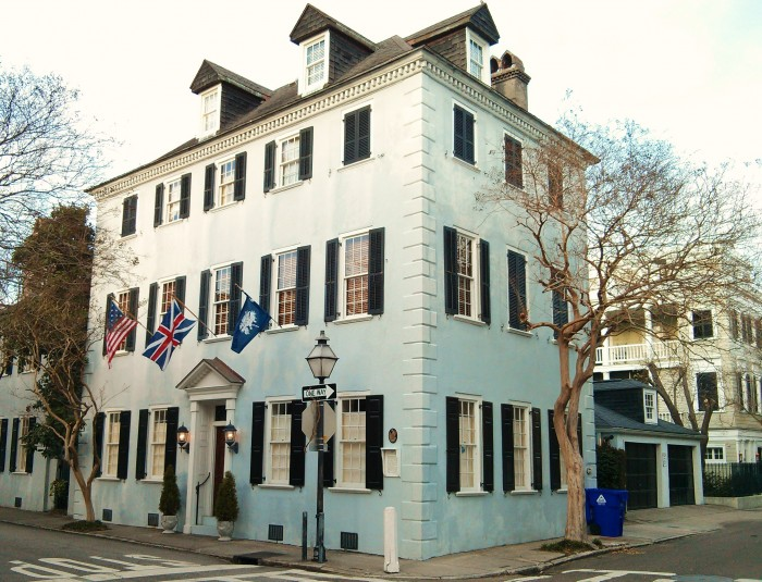 A flag-flying beautiful house on King Street in Charleston, SC.