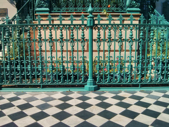 This beautiful sidewalk and ironwork is found at the John Rutledge House, home to one of the most historic figures to live in Charleston, SC.