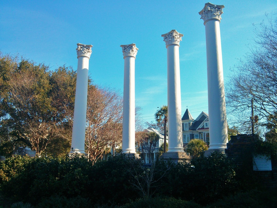 The old Charleston Museum burned down in 1981. These columns are all that remain.