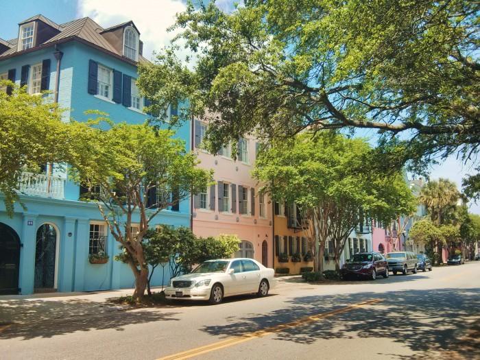 The iconic Rainbow Row in Charleston, SC