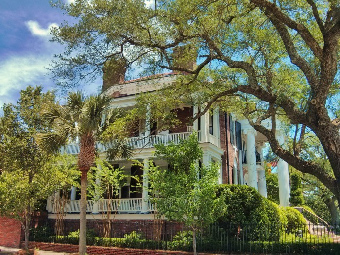 The porches on the side of a Charleston, SC house are called piazzas. This is a pretty grand example of them.