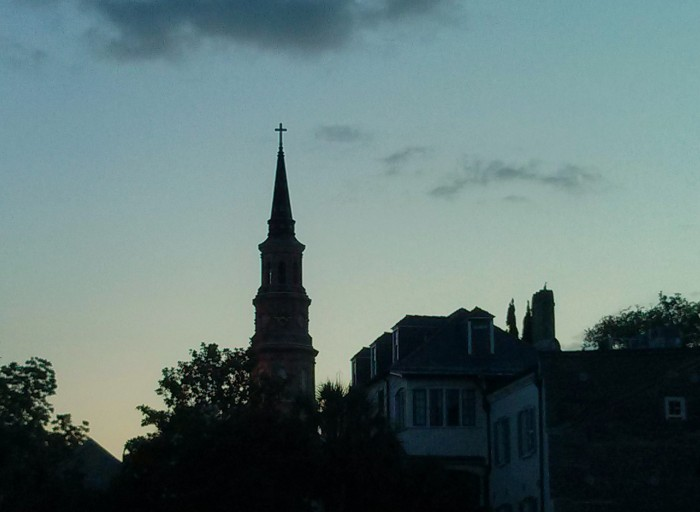 As the sun drops in Charleston, SC, wonderful silhouettes are created .