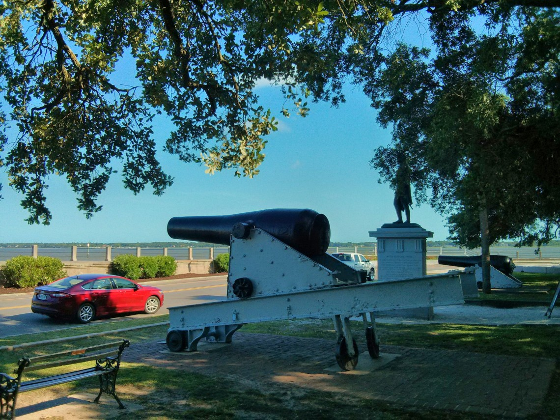 General Moultrie, a hero of the American Revolution, stands guard in White Point Garden -- along with some historical cannons (which are great to play on!).