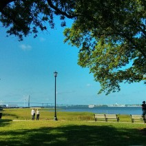 The view of Charleston Harbor from Waterfront Park is spectacular -- sailing ships, an aircraft carrier and a wonderful bridge.
