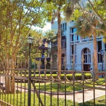 This fence and fountain in Charleston, SC, are in the front of the Hollings Judicial Center on Meeting Street.
