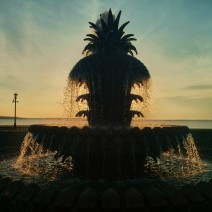 The pineapple fountain in Waterfront Park in Charleston, SC is a great place to greet the dawn.