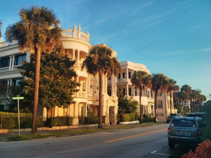 The early morning sun reflecting off some of the wonderful houses along East Battery in Charleston, SC.