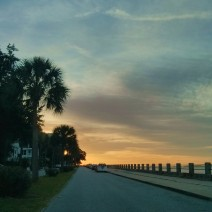 The sun rising in Charleston, SC lights up the sky along the Low Battery.