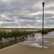 The Ashley River starts to creep over its banks as the very high tides and coastal flooding around Charleston, SC continue.