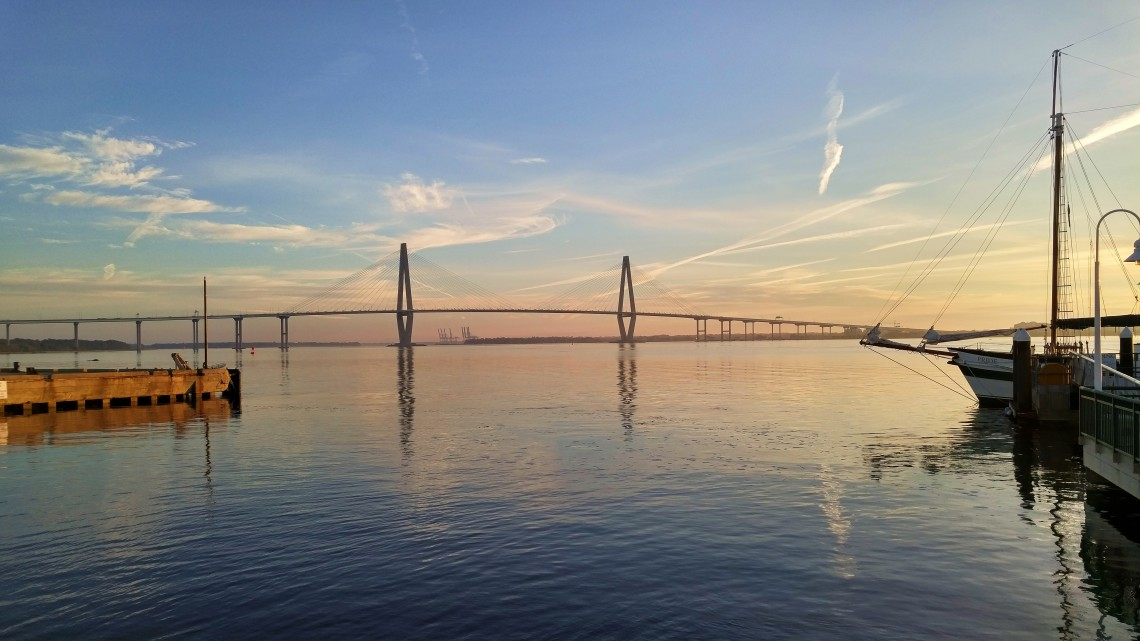 The Ravenel Bridge, which spans the Cooper River -- connecting Charleston, SC and Mt. Pleasant, is one gorgeous bridge.