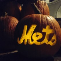 A Jack O'Lantern on a Charleston porch makes it clear which team is going to win the World Series.