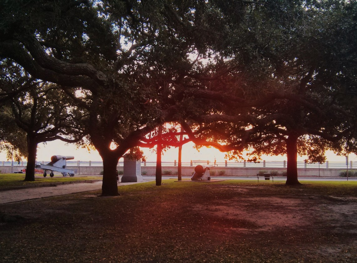 The view of the sun rising over the High Battery in Charleston, SC as seen from within the Live Oak trees of White Point Garden.