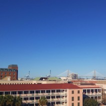The skyline of Charleston, SC has a very low profile, which allows for long panoramic views -- including the beautiful Ravenel (Cooper River) Bridge.