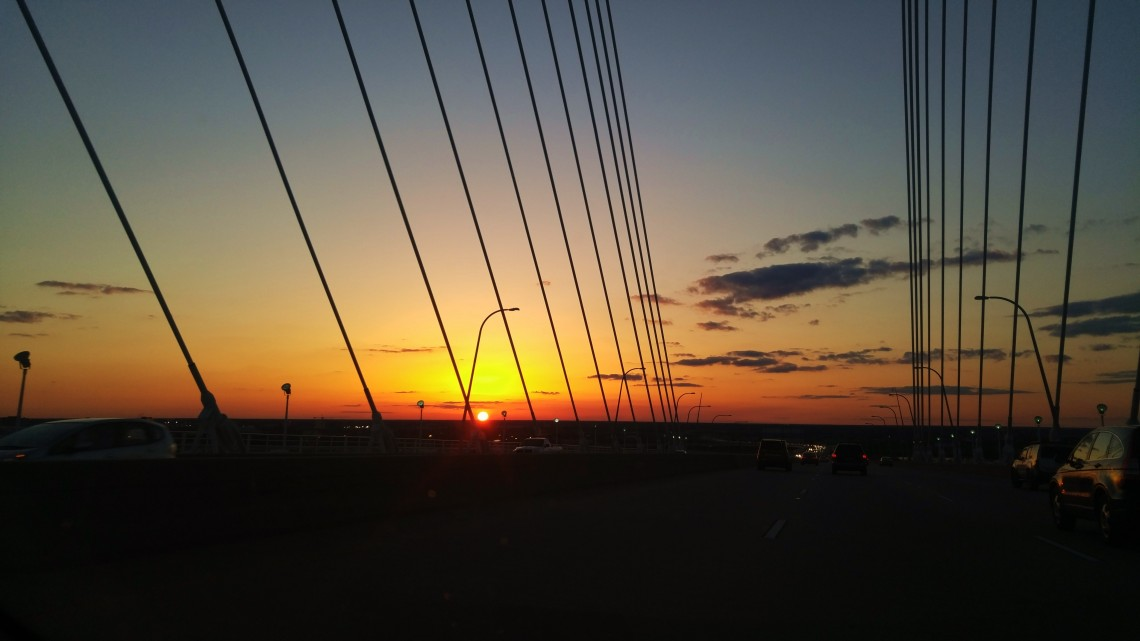 The sunset as seen from the top of the Ravenel (Cooper River) Bridge in Charleston, SC.
