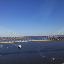 An aerial view of the Ravenel (Cooper River Bridge) in Charleston, SC. Wow.
