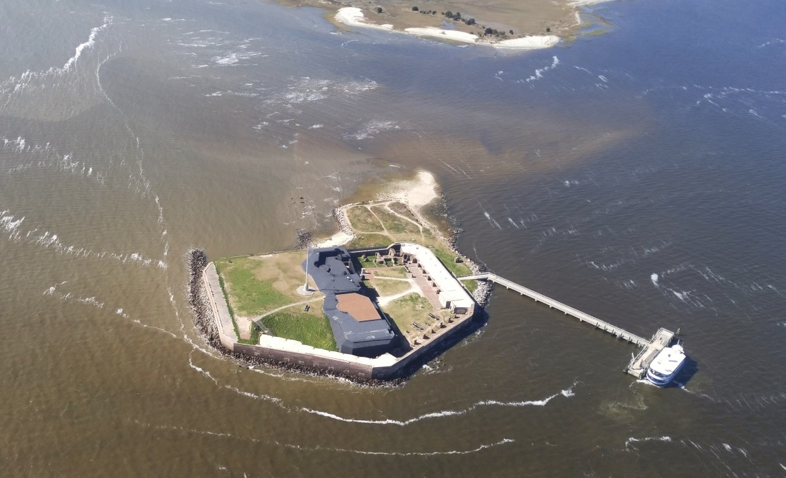 Located at the mouth of Charleston Harbor, Fort Sumter played a strategic role in the city's defense. It's most famous for being where the first shots of the American Civil War took place. This aerial view gives a great perspective on the fort's layout.