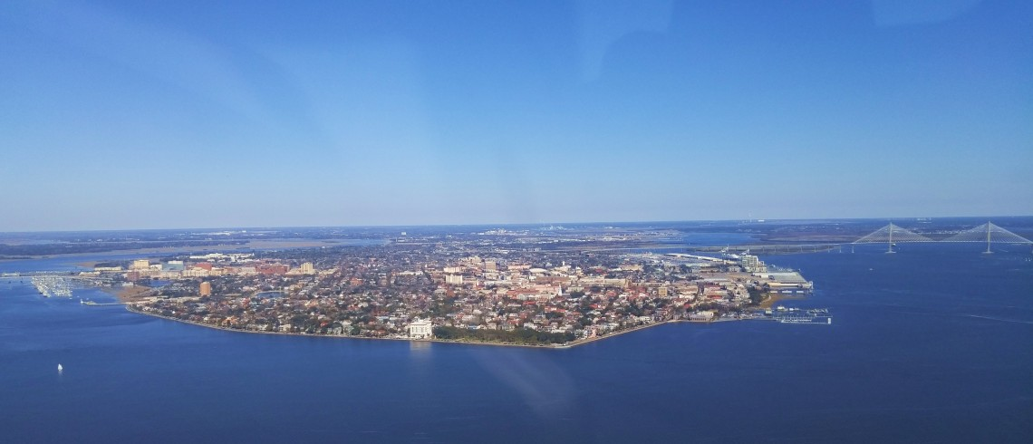 A spectacular view of the Charleston peninsula, harbor and the Cooper River Bridge.