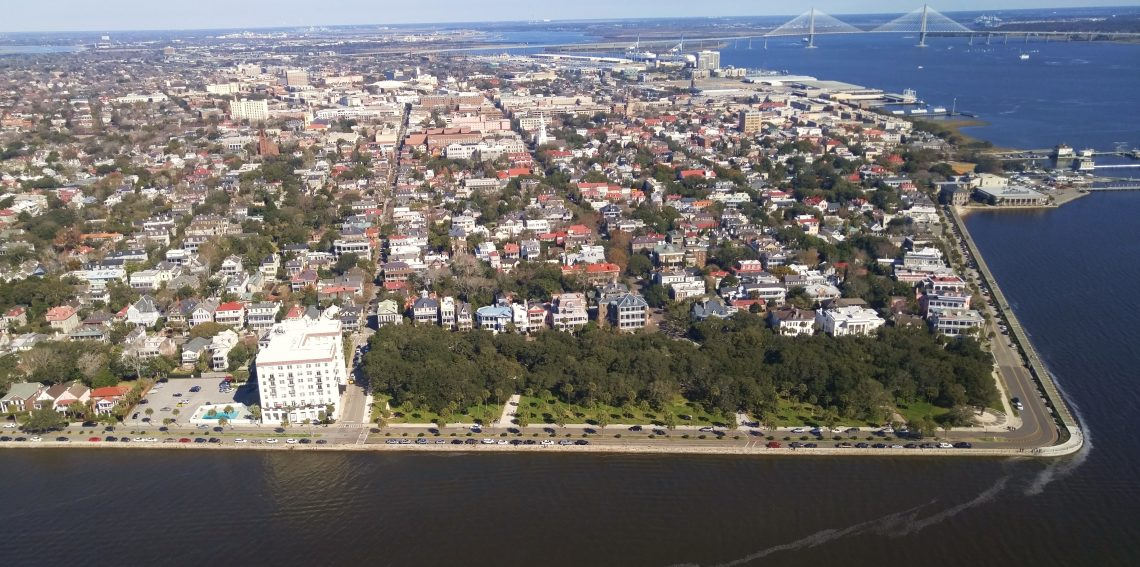 A spectacular view of the Charleston peninsula, harbor and the wonderful Cooper River Bridge.