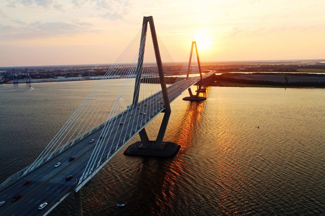 A spectacular view of the Ravenel (Cooper River) Bridge in Charleston at sunset.