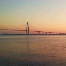 Pre-dawn on the Cooper River in Charleston. The beautiful bridge and a wonderful dolphin.