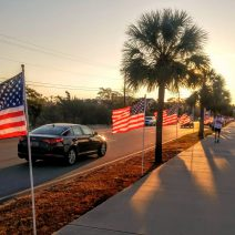 A beautiful display of over 100 flags to honor the nation's veterans along Lockwood Boulevard in Charleston, SC.