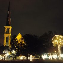 Marion Square is awash with lights during the holiday season. With a backdrop of buildings like the Citadel Square Baptist Church, it is even more spectacular.