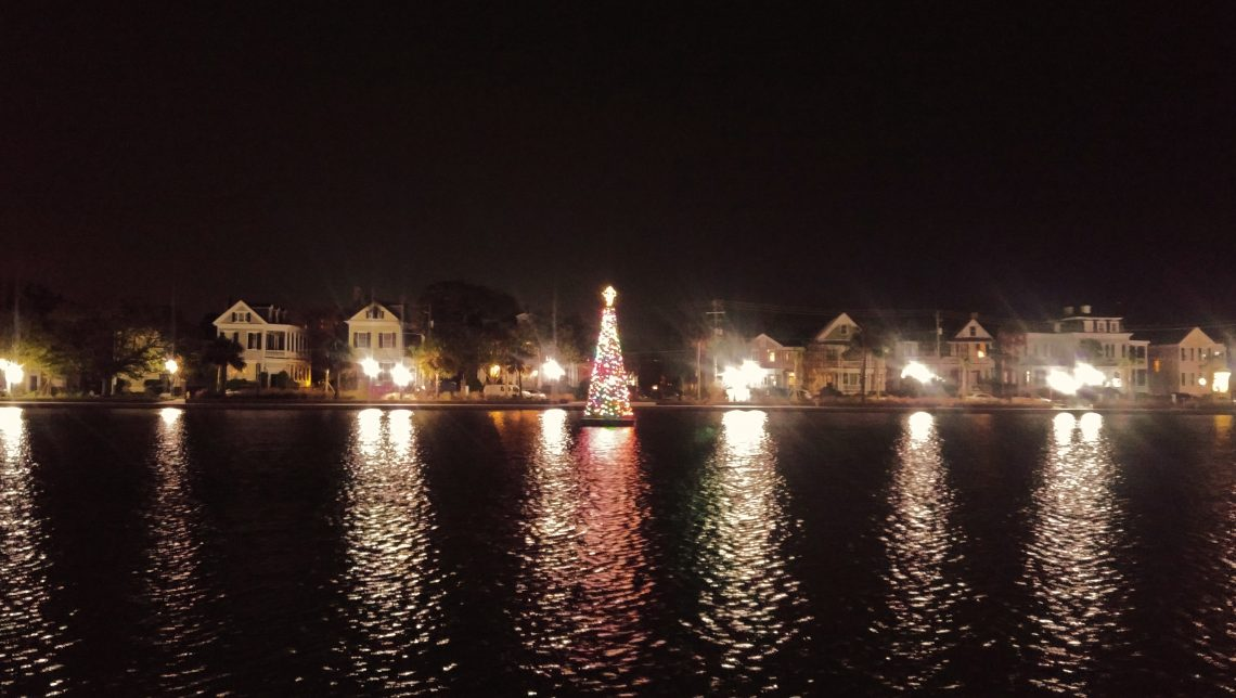 One of the coolest Christmas trees in Charleston is this one made of lights which lives in the middle of Colonial Lake.