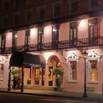 The Mills House Hotel is dressed up for the holidays. A beautiful scene during the day or night.