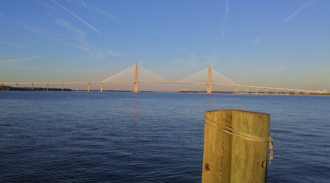 A beautiful view of Charleston Harbor and the Ravenel/Cooper River Bridge.
