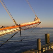 A beautiful bowsprit on the Spirit of South Carolina, a fantastic handcrafted schooner which docks at the Charleston Maritime Center.