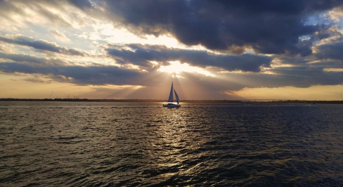 A catamaran heading for home at then end of the day on the Ashley River. What a spectacular view!