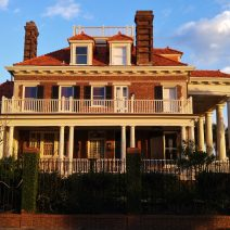 This beautiful Charleston house fronts on Murray Boulevard, but the side is pretty spectacular as well.